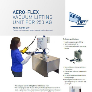 Cover of our flyer AERO-FLEX vacuum lifting device