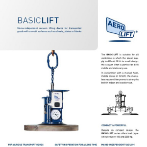 Cover of our flyer of the mains independent vacuum lifting device BASIC-LIFT