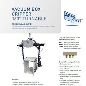 Cover Flyer of box gripper vacuum lifting device which can rotate 360°.