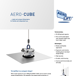 Mains-independent vacuum lifting device AERO-CUBE on our flyer