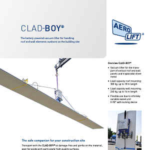 Vacuum lifter CLAD-BOY in use on the construction site