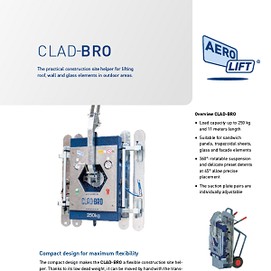 Compact panel lifter CLAD-BRO as vacuum lifter on our flyer