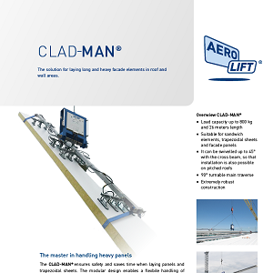 Construction site device vacuum lifter CLAD-MAN on our flyer